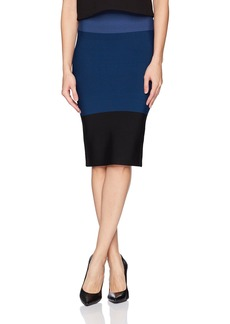 BCBGMAXAZRIA Women's Leger Colorblock Knit Pencil Skirt  L