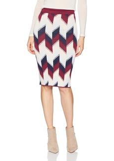 BCBG Max Azria BCBGMAXAZRIA Women's Leger Colorblock Print Knit Pencil Skirt  L