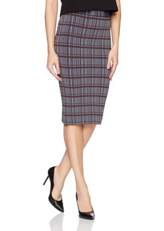 BCBGMAXAZRIA Women's Leger Knit Plaid Printed Pencil Skirt  M