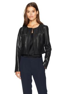 BCBG Max Azria BCBGMAXAZRIA Women's Leony Faux Leather Knit Jacket  L