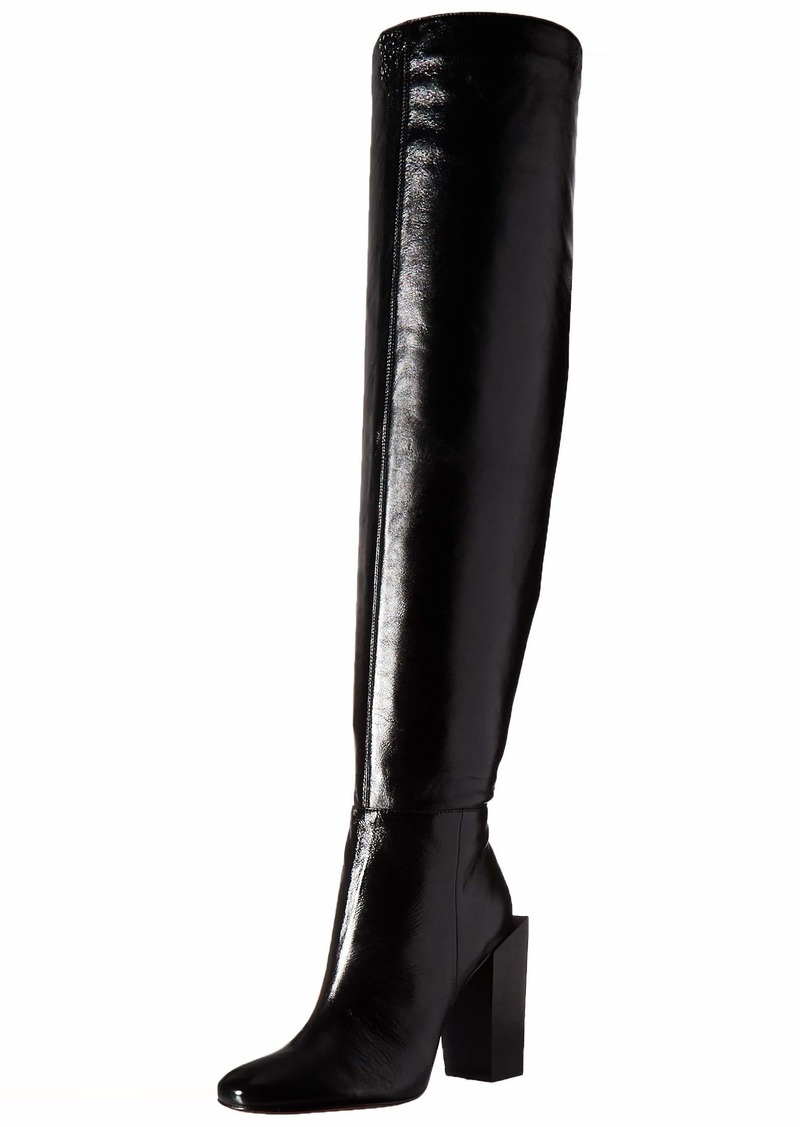 BCBG Max Azria BCBGMAXAZRIA Women's Liviana Over the Knee Boot Boot black leather