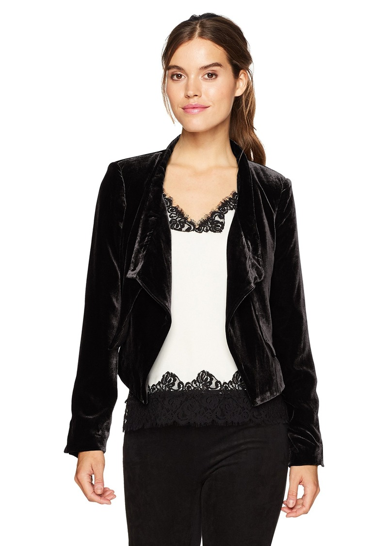 BCBG Max Azria BCBGMAXAZRIA Women's Lloyd Woven Crushed Velvet Layered Jacket  XS