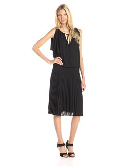 BCBGMAXAZRIA Women's Lona Draped Bodice Dress with Pleated Skirt