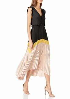 BCBG Max Azria BCBGMAXAZRIA Women's Long Pleated Dress  L