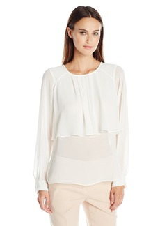BCBG Max Azria BCBGMAXAZRIA Women's Long Sleeve Blouse with Overlay