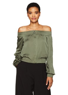 BCBG Max Azria BCBGMAXAZRIA Women's Marco Off The Shoulder Woven Bomber Jacket  M