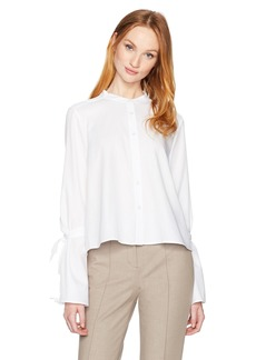 BCBGMAXAZRIA Women's Marrisa Woven Shirting Bell Sleeved Top  L