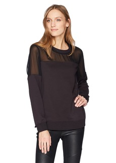 BCBG Max Azria BCBGMAXAZRIA Women's Martina Mixed Media Sweatshirt  M