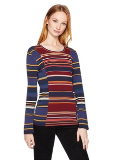 BCBGMAXAZRIA Women's Melo Striped Knit Bell Sleeved Top  L