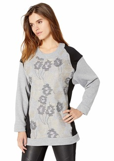 BCBG Max Azria BCBGMAXAZRIA Women's Mixed Media Embroidered Tunic Top  XS