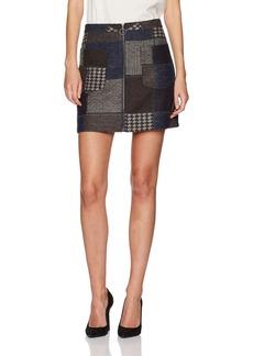 BCBG Max Azria BCBGMAXAZRIA Women's Mollee Woven Patchwork Mini Skirt  L