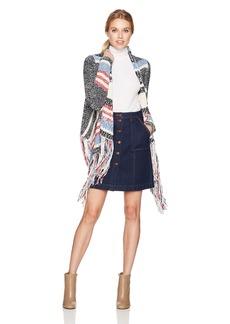 BCBG Max Azria BCBGMAXAZRIA Women's Morgain Knit Marled Fringe Cardigan Dark MIDINIGHT CO M/L