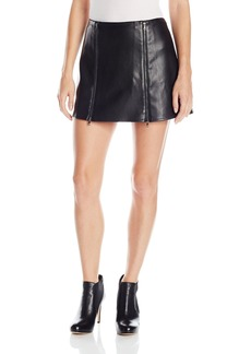 BCBGMAXAZRIA Women's Myra Double Zipped Leather Skirt