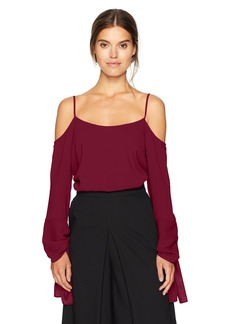 BCBGMAXAZRIA Women's Nicholette Woven Cold Shoulder Top with Exaggerated Sleeves  M