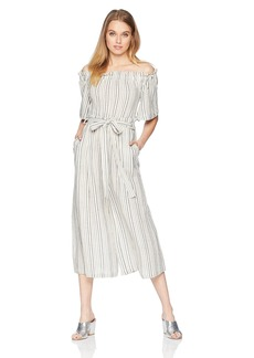 BCBG Max Azria BCBGMAXAZRIA Women's Off The Shoulder Linen Striped Jumpsuit  M