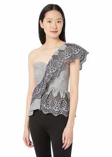 BCBG Max Azria BCBGMAXAZRIA Women's One Shoulder Embroidered Peplum Top
