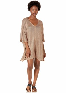 BCBG Max Azria BCBGMAXAZRIA Women's Open Side V-Neck Tunic Shimmer Cover-Up