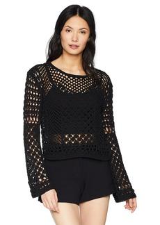 BCBG Max Azria BCBGMAXAZRIA Women's Open Stitch Cropped Sweater  M