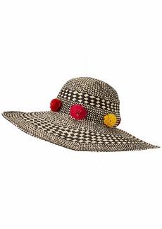 BCBG Max Azria BCBGMAXAZRIA Womens Pom Party Floppy Wide Brim Woven Hat Tan O/S