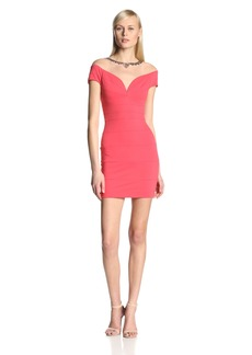 BCBGMAXAZRIA Women's Ponte Bandage Dress with Embellished Tulle Neckline