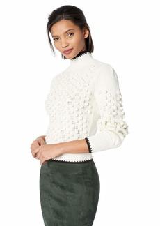 BCBG Max Azria BCBGMAXAZRIA Women's Popcorn Stitch Turtleneck Sweater  L