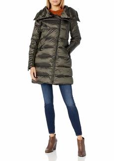 BCBG Max Azria BCBGMAXAZRIA Women's Puffer Coat with Hood with Strom Cuff  M