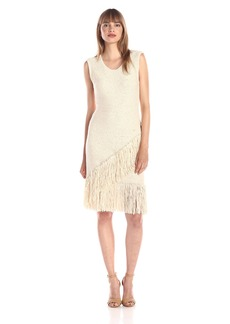 BCBGMAXAZRIA Women's Raychull Solid Fringe Fitted Dress