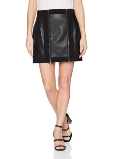 BCBG Max Azria BCBGMAXAZRIA Women's Roxy Faux-Leather Mini Skirt  L