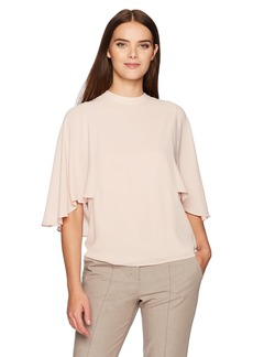 BCBGMAXAZRIA Women's Ruthie Woven Draped Back Top  L