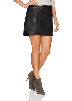 BCBG Max Azria BCBGMAXAZRIA Women's Sabina Knit Faux Leather Skirt  L
