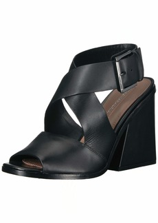 BCBG Max Azria BCBGMAXAZRIA Women's Sara Chunky Heel Sandal Sandal black leather