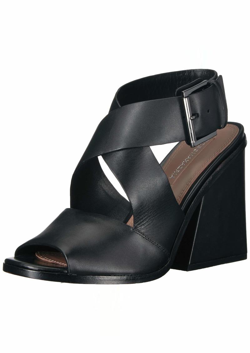 BCBG Max Azria BCBGMAXAZRIA Women's Sara Chunky Heel Sandal Sandal black leather  M US