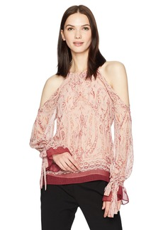 BCBGMAXAZRIA Women's Sessilee Woven Cold Shoulder Floral Paisley Top  XS