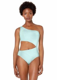 BCBG Max Azria BCBGMAXAZRIA Women's Shoulder Cutout One Piece Solid Color Swimsuit