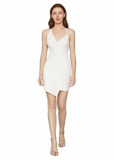 BCBG Max Azria BCBGMAXAZRIA Women's Sleeveless Asymmetrical V-Neck Short Dress Off-White
