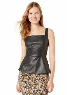 BCBG Max Azria BCBGMAXAZRIA Women's Sleeveless Faux Leather Peplum Top  S