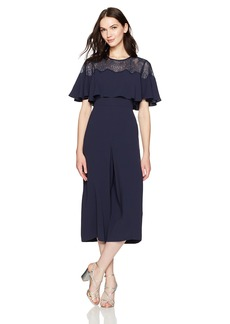 BCBG Max Azria BCBGMAXAZRIA Women's Sofie Woven Cape Jumpsuit with Lace Detail  M