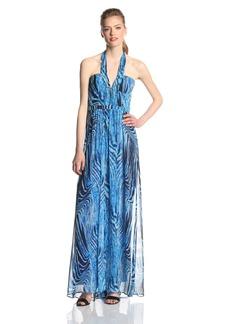 BCBGMAXAZRIA Women's Starr Printed Halter Evening Maxi Gown