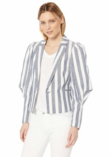 BCBG Max Azria BCBGMAXAZRIA Women's Striped Pleated Shoulder Blazer  M