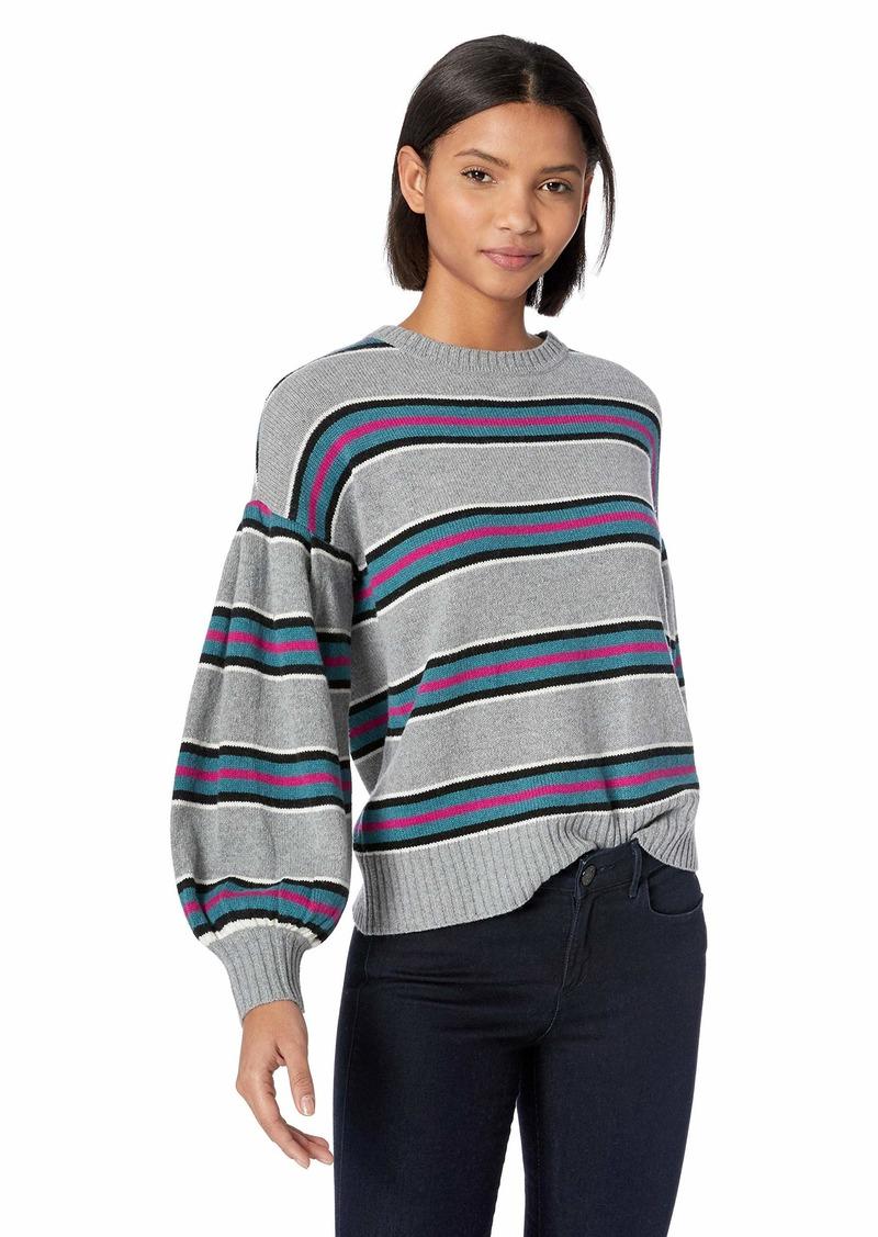 BCBG Max Azria BCBGMAXAZRIA Women's Striped Pleated Sleeve Sweater  M