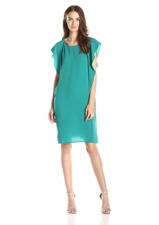 BCBGMAXAZRIA Women's Susi Round Neck Dress with Side Ruffles