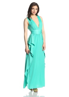 BCBG Max Azria BCBGMAXAZRIA Women's Suzanne Deep V Ruffled Evening Gown