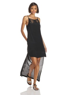 BCBGMAXAZRIA Women's Tamsyn Hi Lo Dress with Fringe Yoke