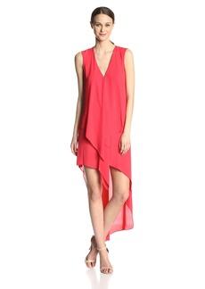 BCBG Max Azria BCBGMAXAZRIA Women's Tara Ruffled Hi-Lo Sleeveless Maxi Dress
