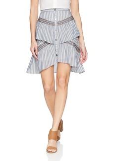 BCBG Max Azria BCBGMAXAZRIA Women's Tiered Ruffle Stripe Skirt  M
