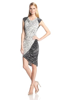 BCBGMAXAZRIA Women's Tiffanie Print Blocked Dress with Side Shirring