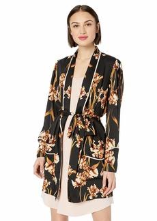 BCBG Max Azria BCBGMAXAZRIA Women's Tulip Print Robe Jacket Fringe Black M