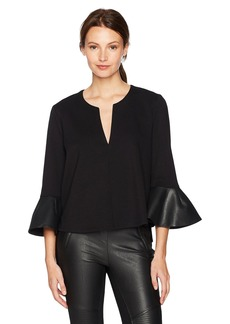 BCBGMAXAZRIA Women's Valari Knit Top with Faux Leather Ruffle Sleeve  XS