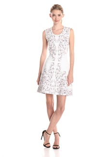 BCBG Max Azria BCBGMAXAZRIA Women's Wilma Embroidered Floral Fit and Flare Dress