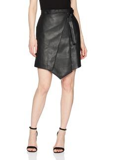 BCBG Max Azria BCBGMAXAZRIA Women's Yulissa Faux-Leather Wrap Skirt  l